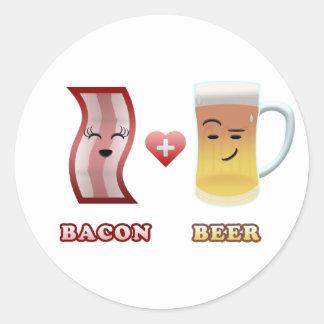 Tocino + Cerveza en amor Pegatina Redonda