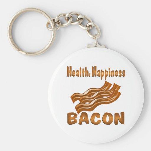 Tocino de la felicidad de la salud llavero personalizado