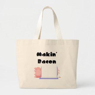 Tocino de Makin de la manta azul de los cerdos el  Bolsas De Mano
