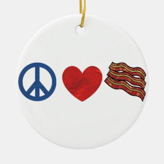 Tocino del amor de la paz adorno navideño redondo de cerámica