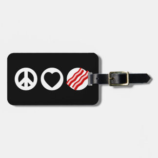 Tocino del amor de la paz etiquetas de equipaje