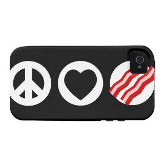 Tocino del amor de la paz Case-Mate iPhone 4 carcasas