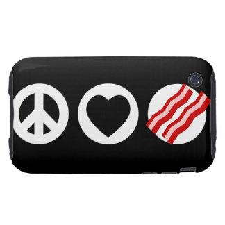 Tocino del amor de la paz tough iPhone 3 carcasa