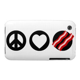 Tocino del amor de la paz Case-Mate iPhone 3 carcasa