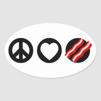 Tocino del amor de la paz pegatina ovalada