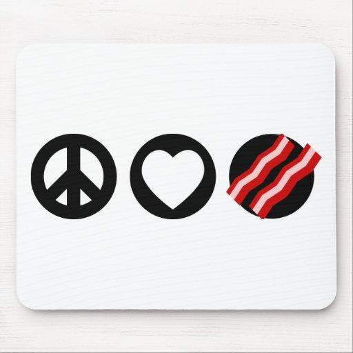 Tocino del amor de la paz tapete de ratones