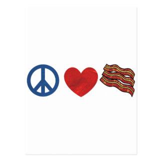 Tocino del amor de la paz tarjeta postal