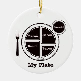 Tocino mi placa adorno navideño redondo de cerámica
