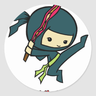 Tocino Ninjas Pegatina Redonda