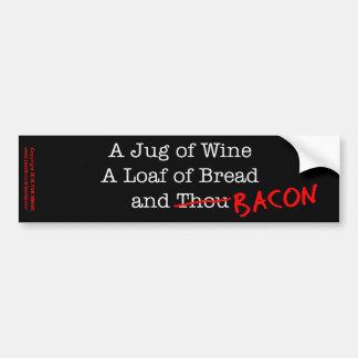 Tocino un jarro de vino etiqueta de parachoque
