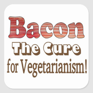 Tocino vegetariano pegatina cuadrada