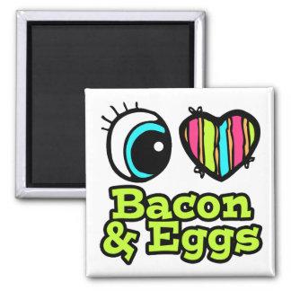 Tocino y huevos brillantes del amor del corazón I Iman De Frigorífico