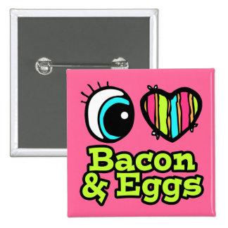 Tocino y huevos brillantes del amor del corazón I Pin Cuadrada 5 Cm