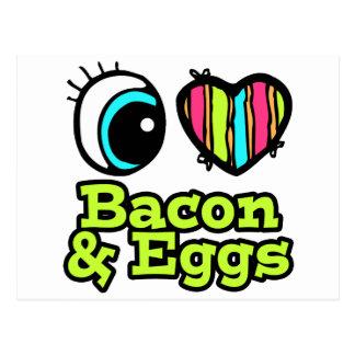 Tocino y huevos brillantes del amor del corazón I Tarjetas Postales