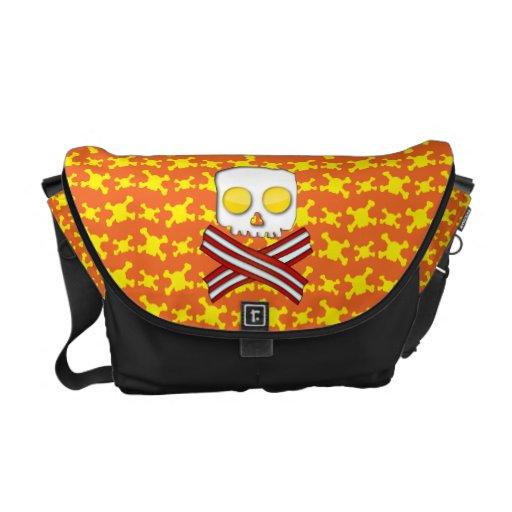 Tocino y huevos cráneo y bandera pirata bolsas de mensajeria