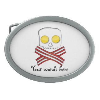 Tocino y huevos cráneo y bandera pirata hebillas de cinturón ovales