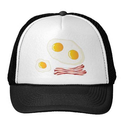 Tocino y huevos fritos - mi desayuno bueno de f gorras de camionero