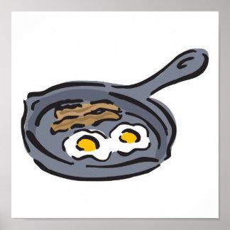tocino y huevos fritos póster