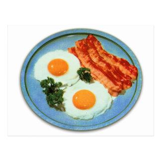 Tocino y huevos retros de la comida del kitsch del postal