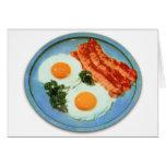 Tocino y huevos retros de la comida del kitsch del tarjeta