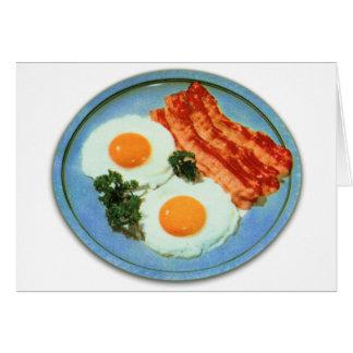 Tocino y huevos retros de la comida del kitsch del tarjeta de felicitación