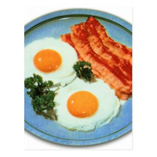 Tocino y huevos retros de la comida del kitsch del tarjeta postal