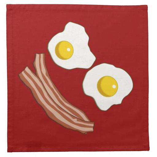 Tocino y huevos servilleta de papel