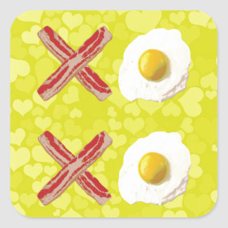 Tocino y huevos - XOXO Pegatina Cuadrada