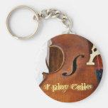 Toco el violoncelo llavero redondo tipo pin