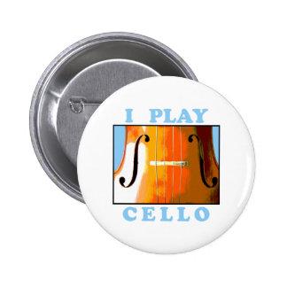 Toco el violoncelo pin redondo de 2 pulgadas