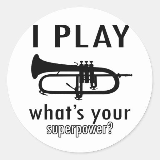 Toco la trompeta pegatina redonda
