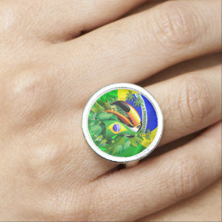 Toco Toucan con los anillos de la bandera del Bras