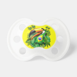 Toco Toucan with Brazil Flag pacifier