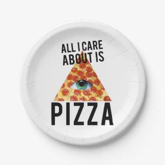 Toda cuidado de i es alrededor pizza platos de papel