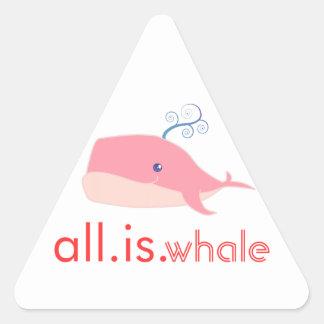 Toda es ballena (el rosa) calcomanía triangulo