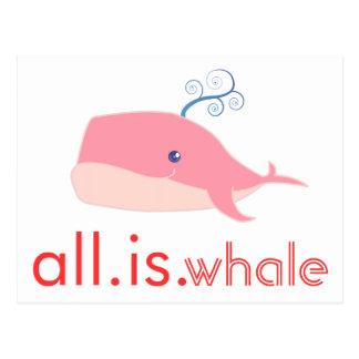 Toda es ballena (el rosa) tarjetas postales