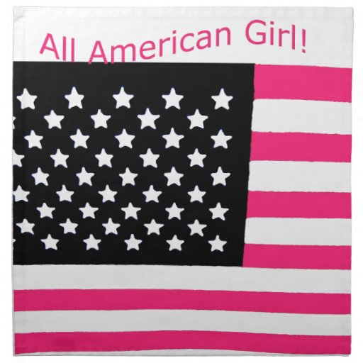 Toda la bandera americana de los E.E.U.U. del rosa Servilletas Imprimidas