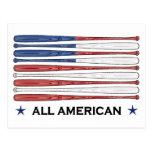 Toda la bandera americana del béisbol postal