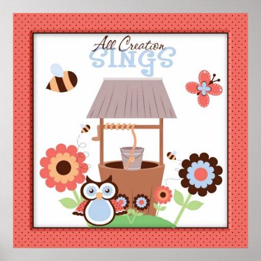 Toda la creación canta el búho y a amigos decoraci póster