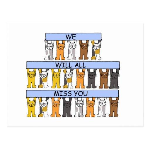 Toda la falta usted los gatos del dibujo animado tarjeta postal