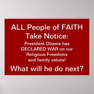 Toda la gente de la fe toma el aviso: - Pres. Obam Póster