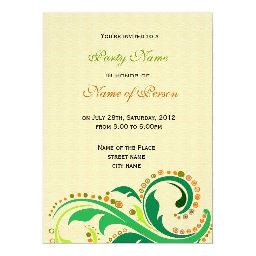 Toda la invitación de los fiestas, remolina floral invitación 13,9 x 19,0 cm