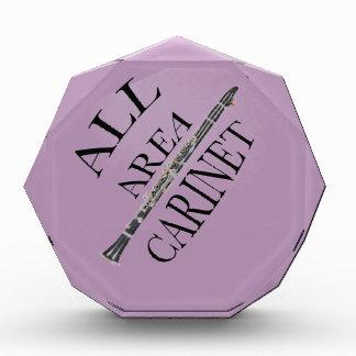 Toda la placa del premio del jugador del Clarinet