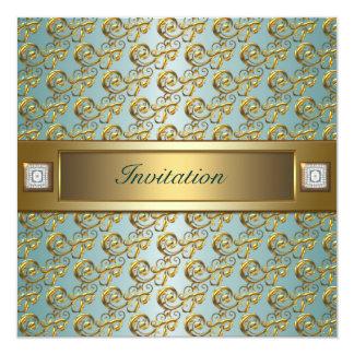 Toda la plantilla de la invitación del oro del invitación 13,3 cm x 13,3cm