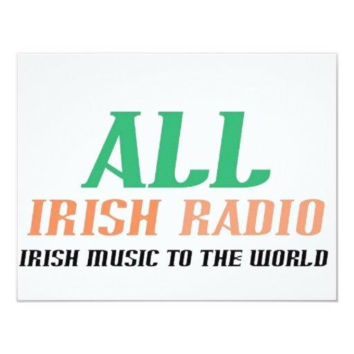 """Toda la radio irlandesa invitación 4.25"""" x 5.5"""""""