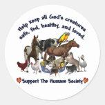 Toda la sociedad humana de las criaturas de dioses etiquetas redondas