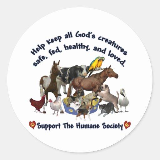 Toda la sociedad humana de las criaturas de dioses pegatina redonda