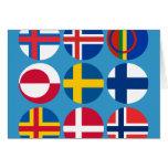 Toda la tarjeta escandinava de las banderas