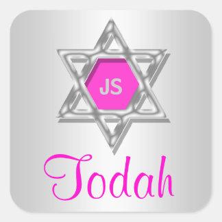 Todah agradece celebraciones del mitzvah del palo calcomanía cuadradase