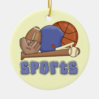 Todas las camisetas y regalos de los deportes adorno navideño redondo de cerámica